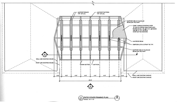 Post and beam patio drafting plans