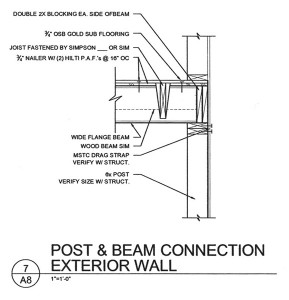 residential drafting for a second story-post and beam connection